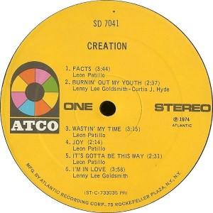 Creation 1974 Creation label 1