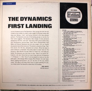 The Dynamics First Landing back cover