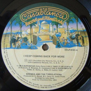Brenda & The Tabulations – 1977 – I Keep Coming Back For More label1