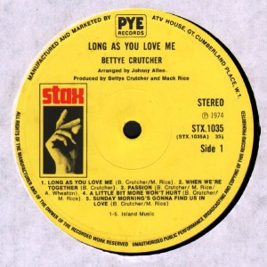 BETTYE CRUTCHER Long As You Love Me label 1