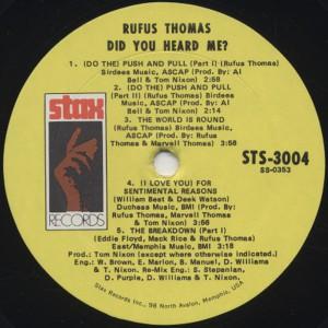 Rufus Thomas Did You Heard Me label 1