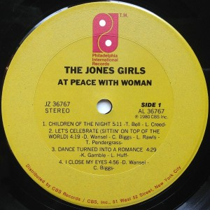 The Jones Girls At Peace With Woman label 1