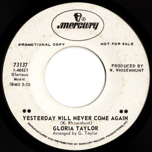 gloria ann taylor yesterday will never come again Cover