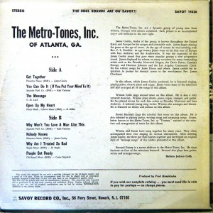 The Metro-Tones, Inc. Get Together back