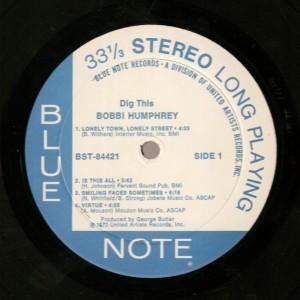 Bobbi Humphrey - Dig This! label 1