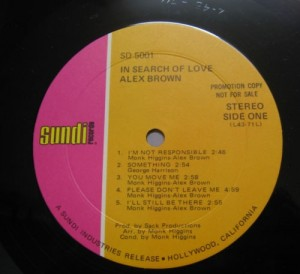 Alex Brown - 1970 - In Search Of Love label 1