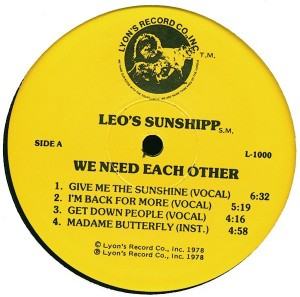Leo's Sunshipp We Need Each Other label 1