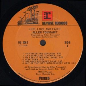 Allen Toussaint - Life, Love and Faith label 1
