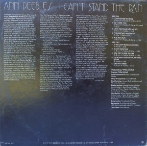 Ann Peebles I Can't Stand The Rain back cover
