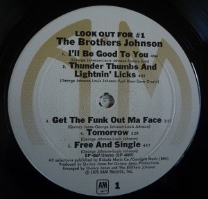The Brothers Johnson – Look Out For #1 label 1