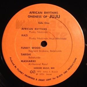 Oneness Of Juju African Rhythms label1