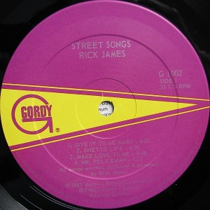 Rick James Street Songs label1