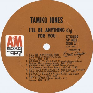 Tamiko Jones 1968 I'll Be Anything For You Label A