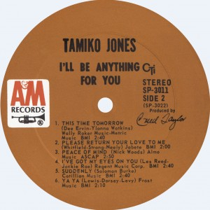 Tamiko Jones 1968 I'll Be Anything For You Label B